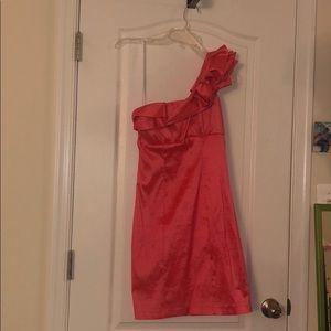 Coral One Shoulder Prom Dress